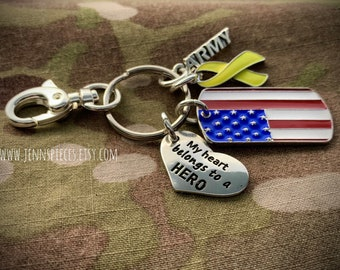 KEYCHAIN My Heart Belongs To A Hero Army Marines Navy Air Force National Guard Soldier Sailor
