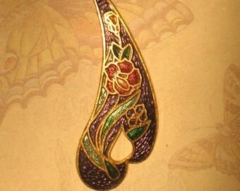Beautiful Floral Purple Cloisonne Pendant