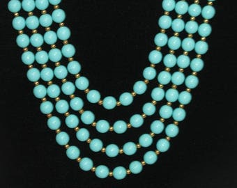 Beautiful Vintage Teal Blue Multi Strand Beaded Necklace Choker