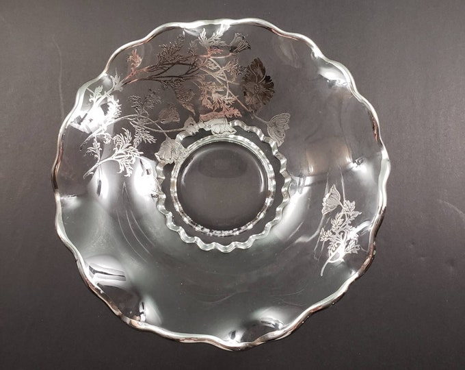 Glass Plate & Bowl with Silver Accent