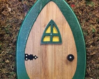 Faerie Doors, Fairy Doors, Gnome doors, Elf Doors, Hobbit Doors 9 inch with leafy green frame.