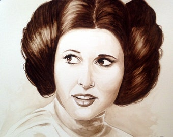 Princess Leia Carrie Fisher Sepia Tone Original Painting Watercolor 11x14 Star Wars
