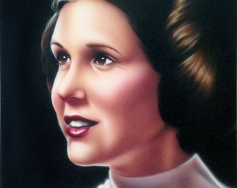 Princess Leia Carrie Fisher Star Wars 16x20 Original Painting