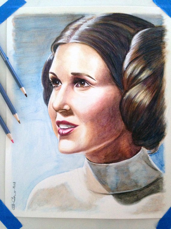 Carrie Fisher Princesse Leia Original Dessin Peinture Aquarelle Crayon 11 X 14 Star Wars