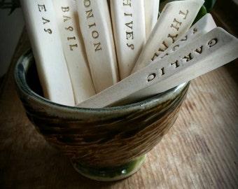 Ceramic garden marker set, vegetable, herb stakes set of four