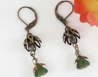 Olive green flower fairy woodland earrings, antique brass lever-back wires