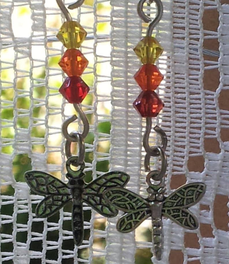 Earrings Victorian Dragonfly with Preciosa Crystal image 0