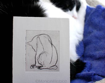 MATTED Original Artwork Etching Cat Blind Contour Drawing Tailless Cat Feline Matted Artwork