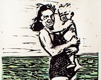 Original MATTED Linocut Vintage OCEAN Woman and child Chine Colle Printmaking