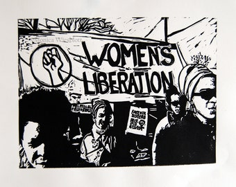 Our Sisters, Ourselves Women's Liberation Original Artwork-Linocut Printmaking Signed Artwork