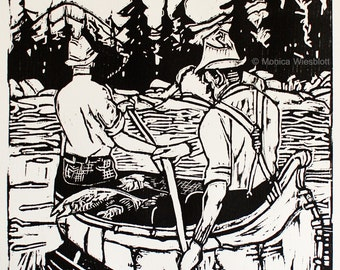 Handpulled Woodcut Canoe WATER Element- Four elements series-signed original artwork