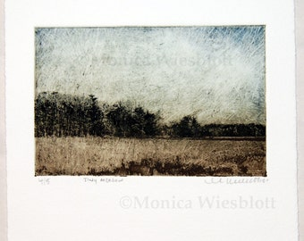 Tiny Meadow-Limited edition etching pritnmaking landscape