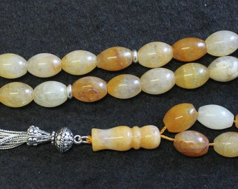 Luxury Prayer Beads Tesbih Large Oval Agate with Amber Color & Sterling - Very Unusual