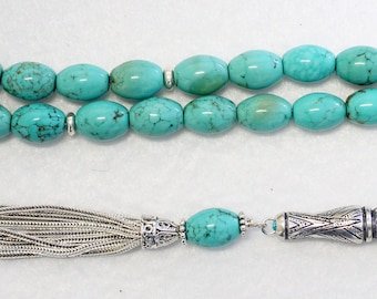 Luxury Prayer Beads Tesbih AAA Turquoise & Sterling -Top Quality- Collector's