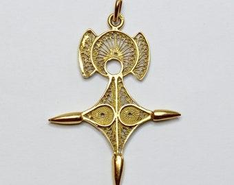 Vintage 18 Carat Gold Filigree Cross Pendant - Cross of Agadez -Unique Design