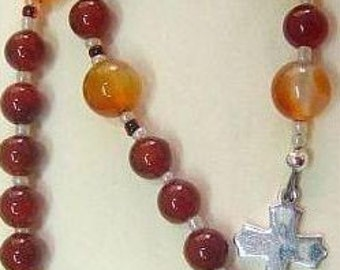 Mini Anglican Episcopal Rosary Carnelian and Sterling Silver