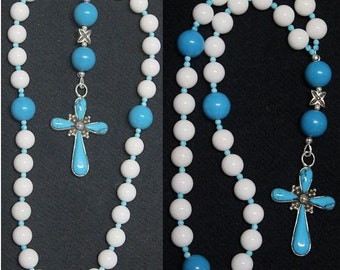 Anglican Episcopal Rosary Prayer Beads : White Jade, Turquoise and Sterling- Rare and Unique