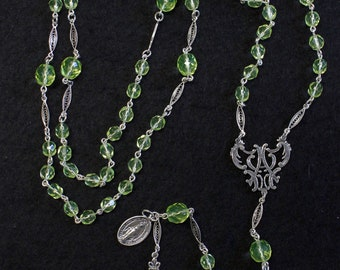 Vintage Uranium Vaseline Faceted Glass and Sterling Catholic Rosary Special & V. Rare.