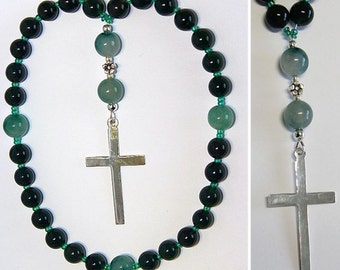 Anglican Episcopal Rosary Prayer Beads : Green Jade, Tree Agate  and Sterling Silver