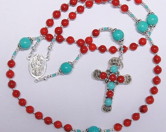 Catholic Rosary Prayer Beads Gebetskette Special : Coral, Turquoise and Sterling.