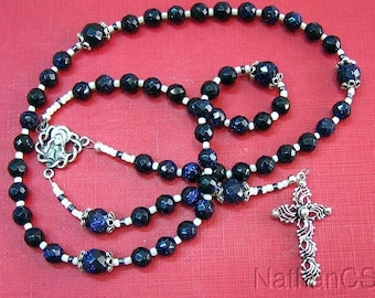 Catholic Rosary Gebetskette Deep Blue Goldstone & Sterling Silver