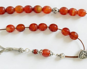 Greek Komboloi Worry Beads Lantern Carnelian & Sterling Silver - Rare Cut
