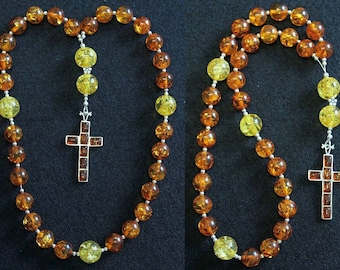 Anglican Episcopal Rosary Prayer Beads Baltic Amber and Sterling Silver