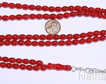 Islamic Prayer Beads Tesbih Gebestkette 99 Beads Natural Red Jade & Sterling Silver