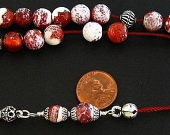 Greek Komboloi Fire Crackled Agate and Sterling Silver