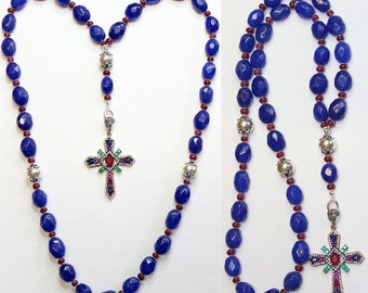Beaded CHOTKI KOMBOSKINI Genuine Sapphire and Sterling - Unique and impressive ORTHODOX Rosary