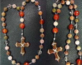 Anglican Episcopal Rosary Rutile Quartz, Carnelian and Serpentine