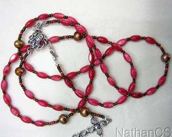 Wearable Catholic Rosary Rosenkranz Fuschia MOP, Pearl & Sterling Silver