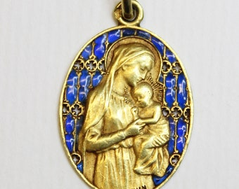 18K Gold Plique-à-Jour Virgin Mary & Child Medal 1929 w Chain Museum Unique Item