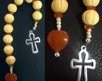 Catholic Open Chaplet Carved Bone Carnelian & Sterling Silver
