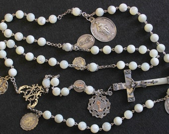 Vintage MOP & Sterling Highly Exceptional Catholic Rosary w 8 Rare Antique Medals