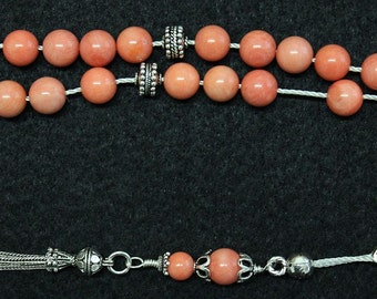 Luxury Greek Komboloi Pink Angel Skin Coral and Sterling Silver