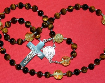 Our Lady of Fatima Catholic Rosary Prayer Beads - Tiger Eye, Sterling and Amber