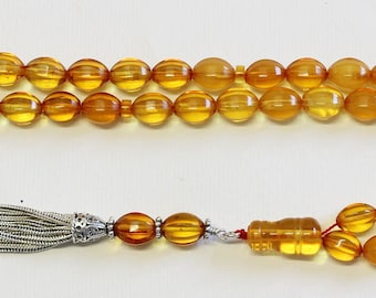 Worry Beads Baltic Gold Carved Genuine Amber - 45 Beads - Sterling Tassel - UNIQUE COLLECTOR