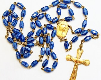 Catholic Vintage Rosary New Old Stock Blue Murano Glass Vermeil Exquisite Series No5