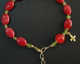 Genuine Ruby, Peridot and Vermeil Bracelet Catholic Rosary with Assorted Earrings