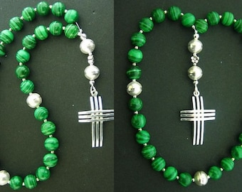 Anglican Episcopal Rosary Prayer Beads Malachite and Sterling Silver