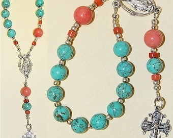Catholic Travel Rosary Chaplet Turquoise, Coral and Sterling Silver