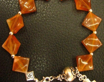 Catholic Rosary Bracelet Vintage Cognac Amber Resin and Sterling Silver