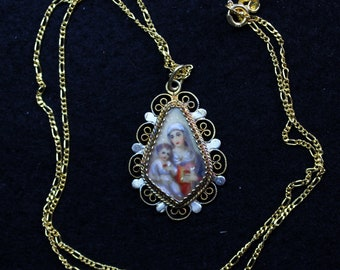 19 th Century Hand Painted Miniature Mary and Jesus Sacred Heart in Vermeil Filigree Frame w chain