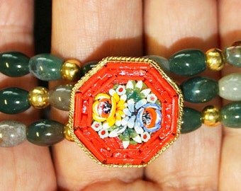 Vintage Pristine Micromosaic Brooch and Bracelets in Bloodstone and Vermeil - Unique