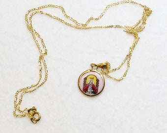 1920's Two Sided Medal Lady Of Coromoto Hand Painted Enameled in 10 K. Gold Frame - RRR