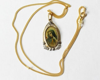 XIXth Century Yellow and White Gold Medal Pendant  Hand Painted Miniature of Mary with Vermeil Chain - Unique and XXR