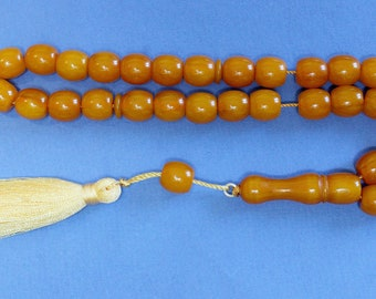 Tesbih Worry Beads Faturan Type Resin of Kahraman Amber Color Vintage 1970's VR COLLECTOR'S -