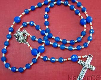 Catholic Rosary Gebetskette Faceted Blue Agate & Sterling Silver