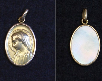 Vintage Catholic Medal Lady Mary Solid 18K Gold with MOP Reverse